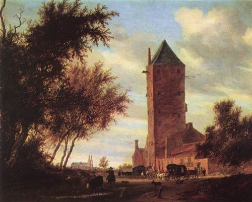 Tower at the Road by Salomon van Ruysdael