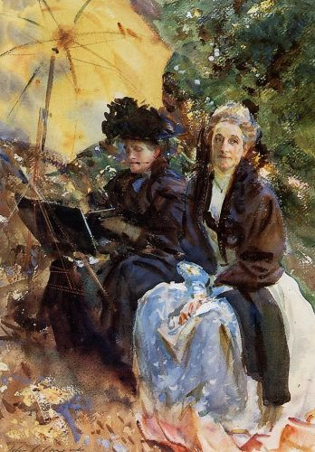 Miss Wedgewood and Miss Sargent Sketching by John Singer Sargent