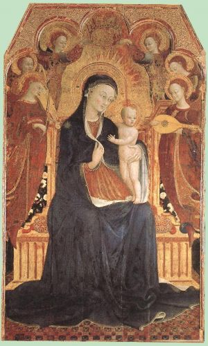 Virgin and Child Adored by Six Angels by Stefano di Giovanni Sassetta