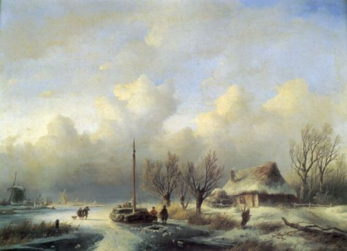 Figures in a winter landscape by Andreas Schelfhout