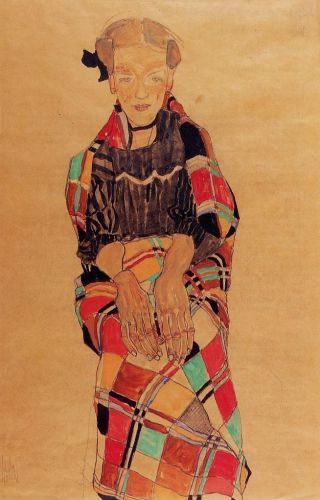 Girl in Black Pinafore by Egon Schiele