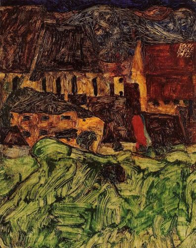 Meadow, Church and Houses by Egon Schiele