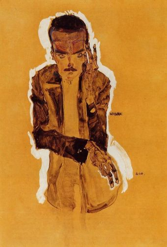 Portrait of Eduard Kismack with Raised Left Hand by Egon Schiele