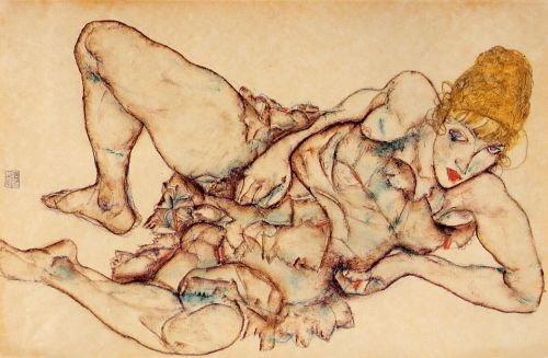 Reclining Woman with Blond Hair by Egon Schiele