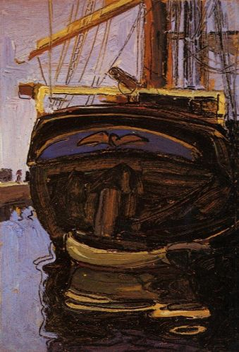 Sailing Ship with Dinghy by Egon Schiele
