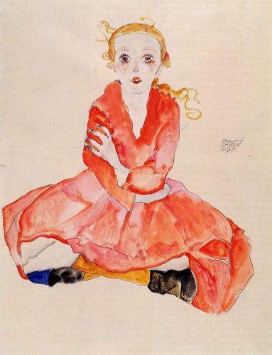Seated Girl Facing Front by Egon Schiele