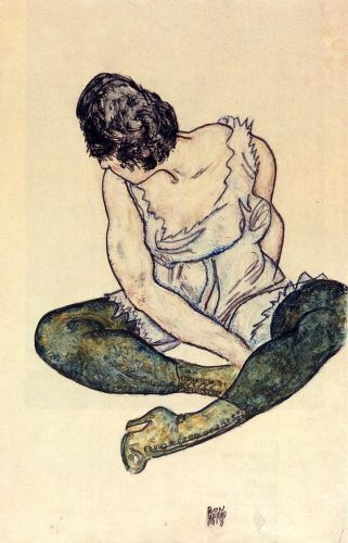 Seated Woman with Green Stockings by Egon Schiele