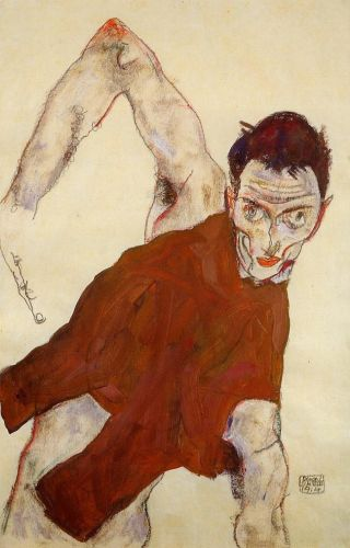 Self Portrait in Jerkin with Right Elbow Raised by Egon Schiele