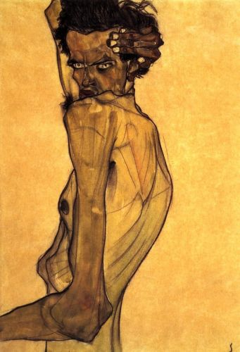 Self Portrait with Arm Twisting above Head by Egon Schiele