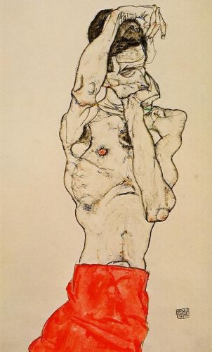 Standing Male Nude with a Red Loincloth by Egon Schiele
