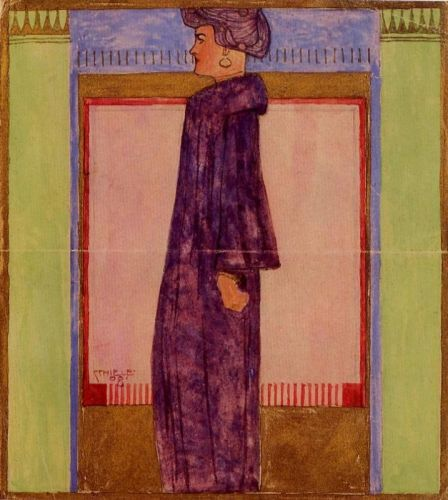 Standing Woman in Profile by Egon Schiele