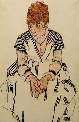 The Artist's Sister-in-Law in a Striped Dress, Seated by Egon Schiele