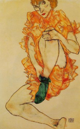 The Green Stocking by Egon Schiele