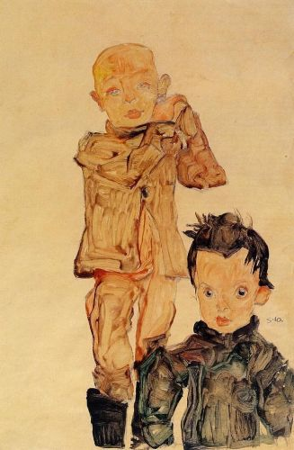 Two Boys by Egon Schiele