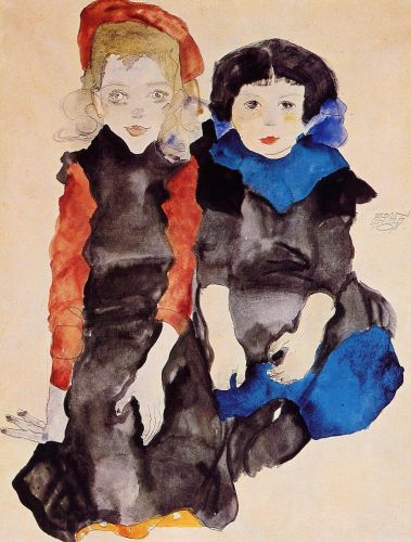Two Little Girls by Egon Schiele