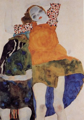 Two Seated Girls by Egon Schiele