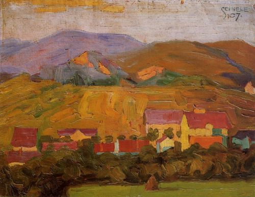 Village with Mountains by Egon Schiele