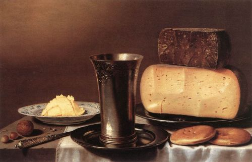 Still-life with Glass, Cheese, Butter and Cake by Floris Gerritsz van Schooten