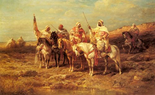 Arab Horsemen by a Watering Hole by Adolf Schreyer