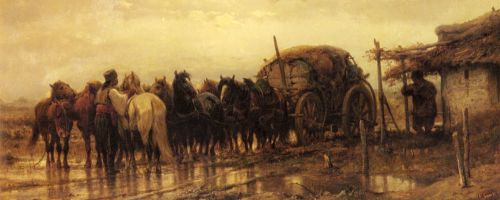 Hitching Horses to the Wagon by Adolf Schreyer