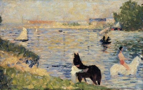 Bathing at Asnieres: Horses in the Water by Georges Seurat