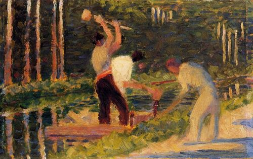 Men Laying Stakes by Georges Seurat