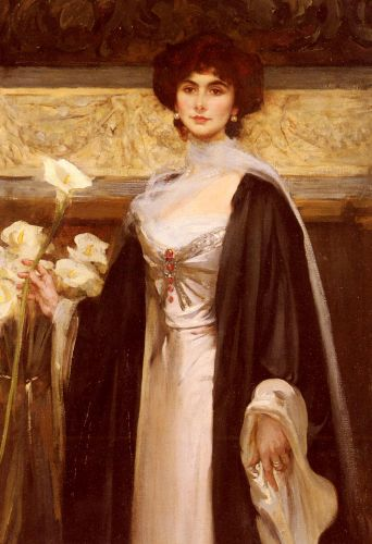 A Portrait Of Baroness Alfred De Meyer by Sir James Jebusa Shannon