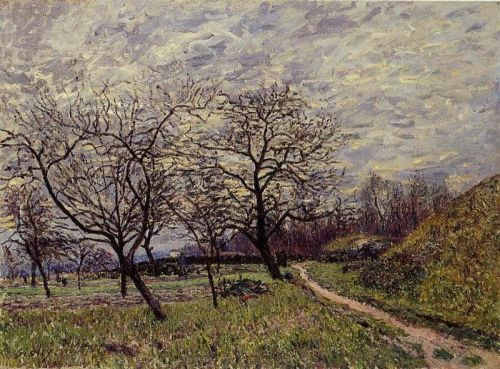 Between Veneux and By: December Morning, 1882 by Alfred Sisley