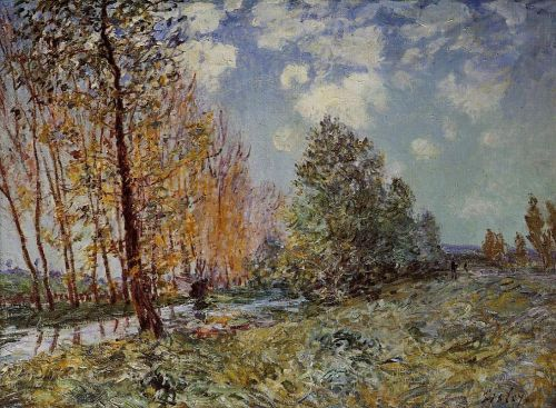 By the River, 1881 by Alfred Sisley