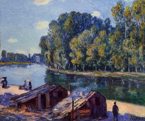 Cabins along the Loing Canal, Sunlight Effect, 1896 by Alfred Sisley