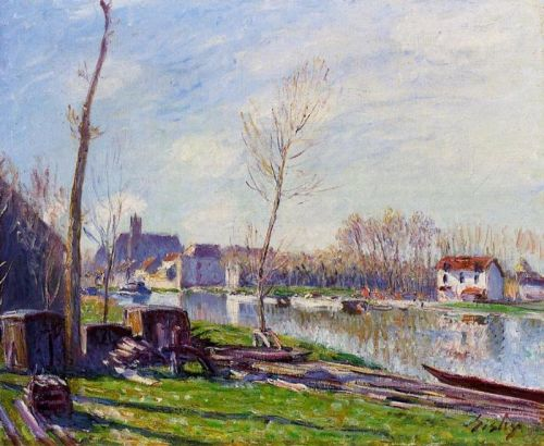 Construction Site at Matrat, Moret-sur-Loing, 1888 by Alfred Sisley