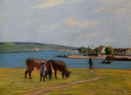 Cows by the Seine at Saint-Mammes, 1895 by Alfred Sisley