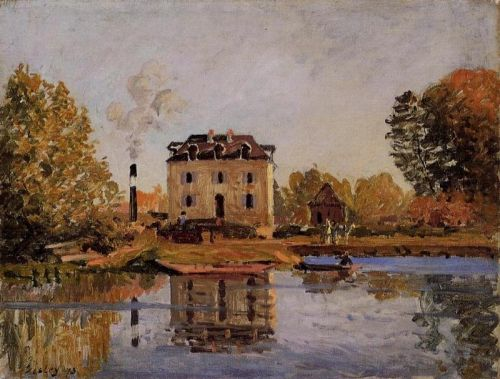 Factory in the Flood, Bougival, 1873 by Alfred Sisley