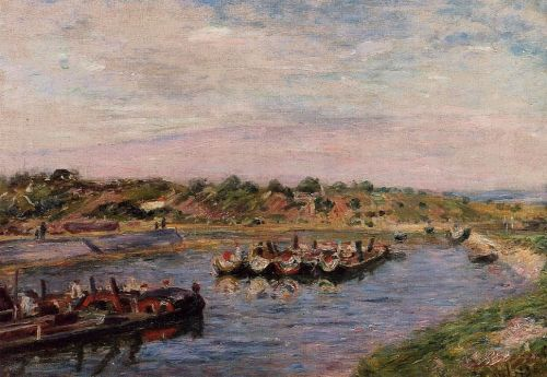 Idle Barges on the Loing Canal at Saint-Mammes, 1885 by Alfred Sisley