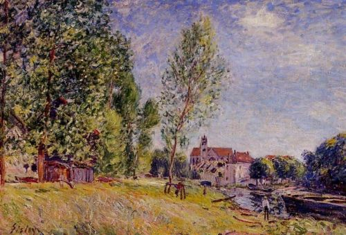 Matratat's Boatyard, Moret-sur-Loing, 1883 by Alfred Sisley
