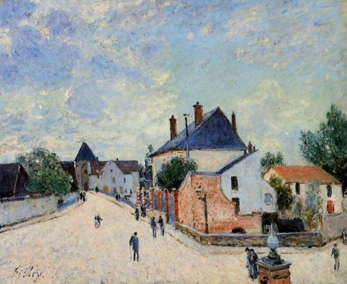 Porte de Bourgogne from Across the Bridge (Street in Moret), 1890 by Alfred Sisley
