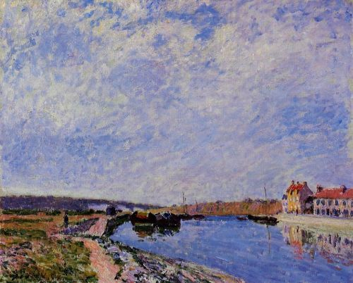 The Barge Port and Saint-Mammes, 1884 by Alfred Sisley