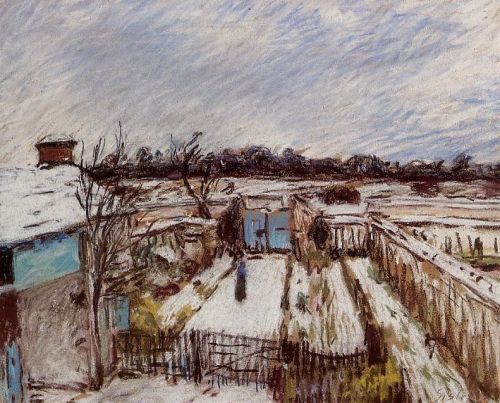 The Garden under the Snow (Snow Effect at Veneux) by Alfred Sisley