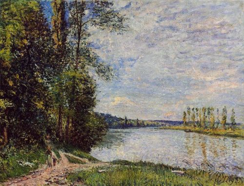 The Path from Veneux to Thomery along the Water, Evening, 1880 by Alfred Sisley
