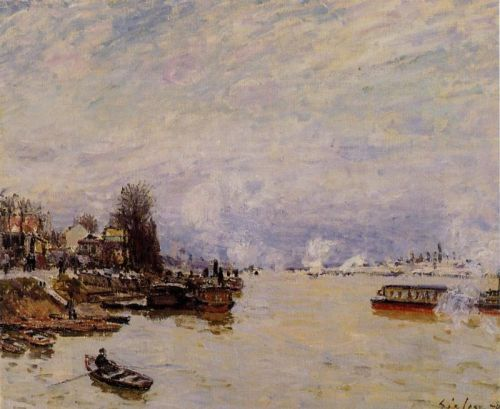 The Seine, View from the Quay de Pont du Jour, 1878 by Alfred Sisley