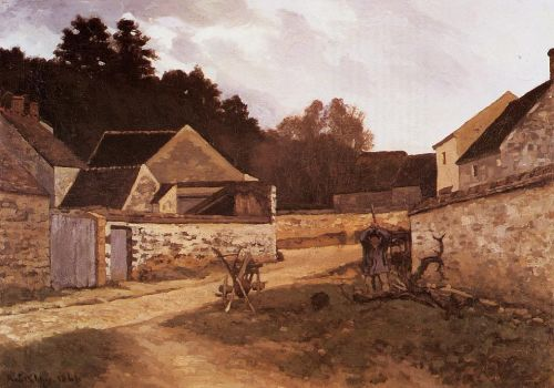 Village Street in Marlotte, 1866 by Alfred Sisley