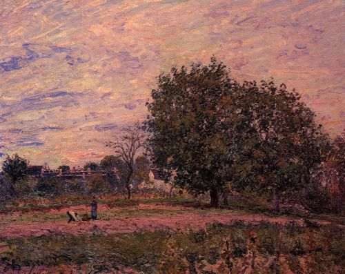 Walnut Trees, Sunset, Early Days of October, 1882 by Alfred Sisley