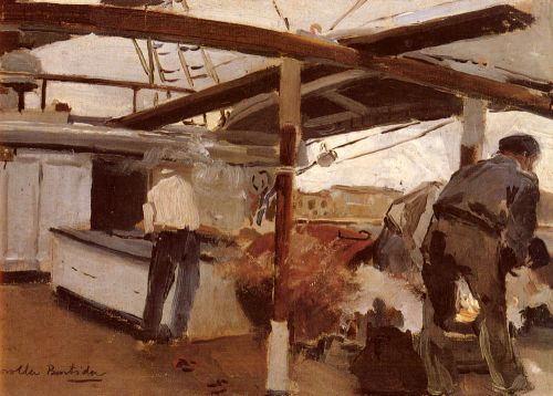 Two Men On A Deck by Joaquin Sorolla Y Bastida