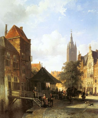 Figures In A Street In Delft by Cornelis Springer