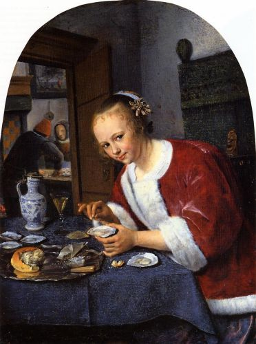 Girl Offering Oysters by Jan Steen