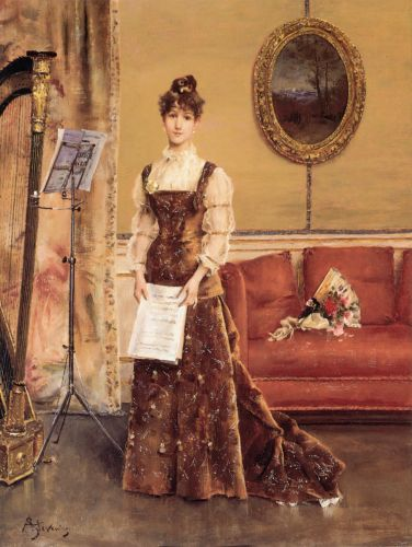 Lady with a Harp by Alfred Stevens