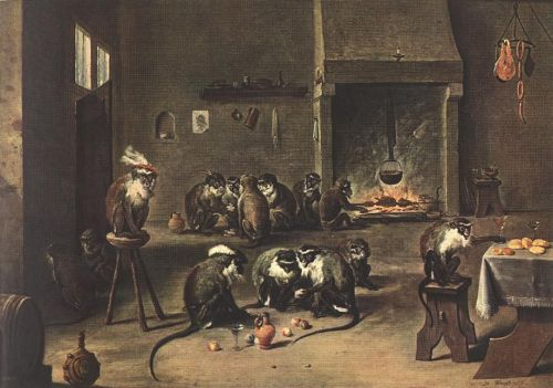 Apes in the Kitchen by David Teniers the Younger