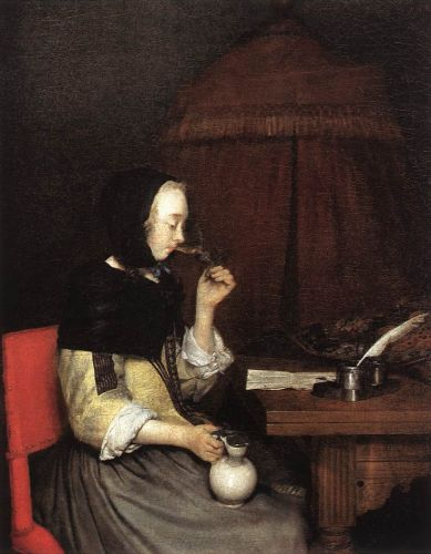 A Woman drinking Wine by Gerard Ter Borch