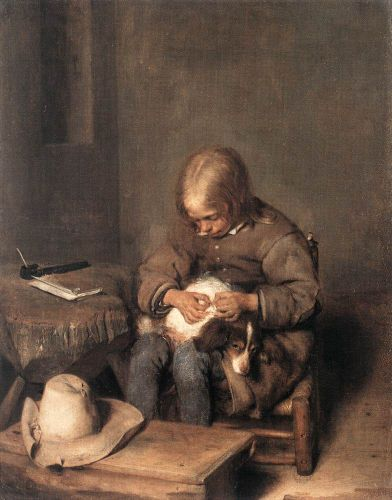 Boy ridding his dog of fleas by Gerard Ter Borch