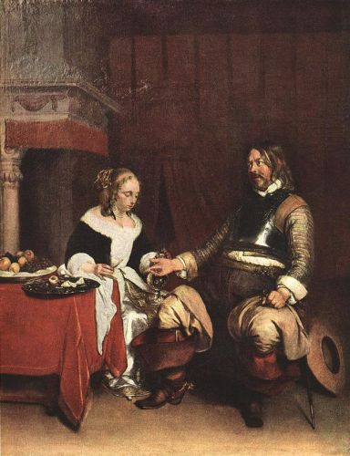Man offering a Woman Coins by Gerard Ter Borch